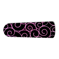 """Hot Pink Swirls on Black 42"""" Ceiling Fan BLADES ONLY - These are beautiful custom blades for your home. This is a set of 4 brand new high quality designer ceiling fan blades. The surface is easy to clean with a damp cloth. These are universal for 42"""" fans. Double the measurement from the center of the fan to the tip of one blade. Several different mediums are used, all are non-toxic. You can be confident that this product will last for years to come. You'll love showing off your new unique blades. These are not licensed products, but are made with licensed materials."""