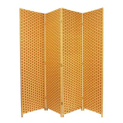 Oriental Furniture - 6 ft. Tall Woven Fiber Room Divider - Natural/Rust - 4 Panel - Hand constructed screen with natural and reddish brown dyed plant fibers tightly woven into a brick and mortar design. Tight weave allows little light to pass through, as well as reinforces the kiln-dried wood frames, creating a portable but sturdy screen. Use as a partition, privacy screen or decorative background in the home or office.
