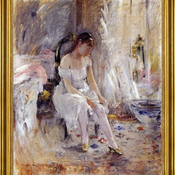 "Berthe Morisot-16""x20"" Framed Canvas - 16"" x 20"" Berthe Morisot Woman Getting Dressed (also known as Young Woman Fastening Her Stockings) framed premium canvas print reproduced to meet museum quality standards. Our museum quality canvas prints are produced using high-precision print technology for a more accurate reproduction printed on high quality canvas with fade-resistant, archival inks. Our progressive business model allows us to offer works of art to you at the best wholesale pricing, significantly less than art gallery prices, affordable to all. This artwork is hand stretched onto wooden stretcher bars, then mounted into our 3"" wide gold finish frame with black panel by one of our expert framers. Our framed canvas print comes with hardware, ready to hang on your wall.  We present a comprehensive collection of exceptional canvas art reproductions by Berthe Morisot."