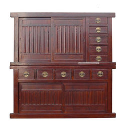 Golden Lotus - Dark Brown Large Japanese Two Layers Stack Tansu - This is a sturdy but elegant looking two layers stack Tansu. The color is in a bit of reddish dark brown color. When you enlarge the picture, you can see the dark color wood grain mixes with the light brown wood base color, it shows the beauty of the nature. The simple design of the cabinet is functional with two shelves and ten drawers for storage. The top shelf is big enough for TV too.  It also can be placed horizontally to become a long buffet table.