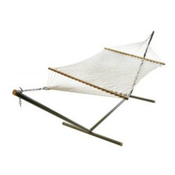 """Algoma 11"""" Single Polyester Rope Hammock - Lazy days are okay in a Algoma 11"""" Single Polyester Rope Hammock either indoors or outdoors. Made of 100 percent polyester rope, this hammock will provide many summers of relaxation. Meant for one, this hammock bed measures 52 inch (Width) x 76 inch (Length) with an overall length of 11 feet. Polyester construction makes it extra durable to the elements. Enjoy the look, feel, and comfort of this soft polyester hammock. Made in the USA."""