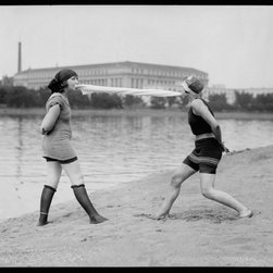 Give Me That Towel or I'll Print - Fun on the Bathing Beach on 6/12/22. Photograpehd by the National Photo Company June 12 1922. Shot on 4x5 glass negative.