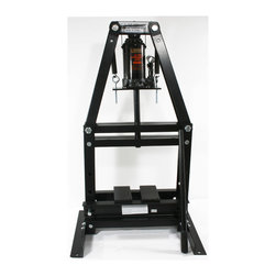 Buffalo Tools - Black Bull 12 Ton A-Frame Shop Press - Use the Black Bull 12 Ton A-Frame Shop Press for installing and removing gears, U-joints, bushings, ball joints, pulleys arbor and press-out jobs. Used by automotive shops and hobbyists to repair and replace bearings, install and remove pressure-fitted parts, and bend or straighten metal.