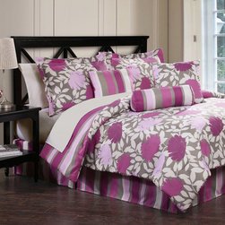 None - Lolita 7-piece Bed in a Bag with Sheet Set - Lolita is a printed microfiber bedding set including a comforter,shams,bedskirt and sheet set. Featuring a charming floral print in a multicolred finish,this set is machine washable for easy care and repeated use.