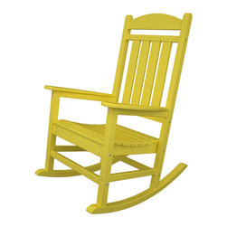 POLYWOOD - POLYWOOD Presidential Rocker - HIgh style and comfort you can really be proud of. Feel important as you sit back in the POLYWOOD Presidential Rocker. Whether you place it in the Oval Office or just in the backyard, the stately rocker is made from durable HDPE POLYWOOD lumber recycled from milk jugs that can withstand rain, snow, sun, or wind. Available in thirteen fade-resistant colors, this extremely attractive chair will delight you for years to come.Thirteen colors available: Aruba, Black, Green, Lemon, Lime, Mahogany, Pacific Blue, Sand, Slate Grey, Sunset Red, Tangerine, Teak, and WhiteDurable HDPE POLYWOOD lumber recycled from milk jugsOver 90% recycled materialsMade in the USA