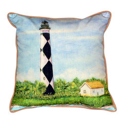 Betsy Drake - Betsy Drake Cape Lookout Lighthouse Pillow- Indoor/Outdoor - Cape Lookout Lighthouse Pillow- Large indoor/outdoor pillow. These versatile pillows are equal at enhancing your homes seaside decor and adding coastal charm to an outdoor setting arrangment. They feature printed outdoor, fade resistant fabric for years of wear and enjoyment. Solid back, polyfill. Proudly made in the USA.