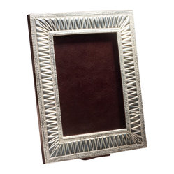 Amoretti Brothers - Amoretti Brothers Duquesa Picture Frame - Display your images in style with this striking handmade frame. Individually crafted from copper, then treated with lustrous silver plate, this heirloom-quality frame is finished with a leather backing, providing the perfect setting for your cherished family photos.