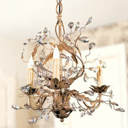Petitie Claire Chandelier - Perfect for a powder room or small bath, the Petite Claire Chandelier would add drama and presence to a room.  It would also work well tucked into a corner over a small seating area.