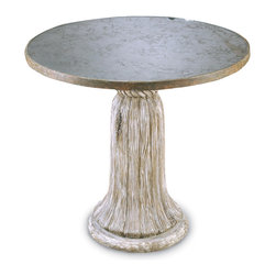 Tassel Table with Antique Mirror Top - The top of this dinette-sized round table is opulently mirrored, its antiqued surface reflecting elegant lighting solutions or well-chosen company in an equally flattering manner.  Below, carved and distressed wood takes the form of a traditional tassel for stately large-scale whimsy.  Presenting splendor with a worn finish, this table brings both an impressive depth of fine detail and a venerable luxury to your transitional furnishings.