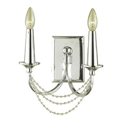 Candice Olson - Shelby Hollywood Regency Crystal Bead 2 Light Wall Sconce - This lovely two candle bulb Hollywood Regency offers classic lines with a slightly more modern interpretation in a sleek chrome finish.  Great for a hallway or romantic bedroom, this transitional piece creates a warm, yet modern effect wherever it is mounted.