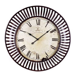Banded Metal Wall Clock - This oversized wall clock with its banded iron framing makes a great statement in any room.