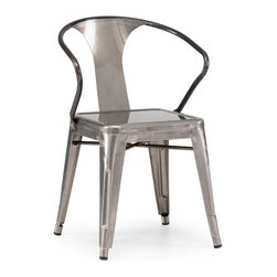 ZUO ERA - Helix Chair Gunmetal (set of 2) - This chair is made of a solid steel frame in a polished galvanized steel finish.