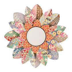 Upton Home - Upton Home Miranda Decorative Floral Mirror - The Upton Home Miranda decorative floral mirror features a circular mirror surrounded by three layers of multi-colored petals. The unique and varying petal patterns make this mirror and flower piece the perfect addition to homes of all design styles.