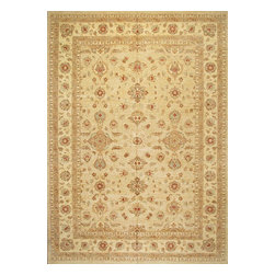 Rugsville - Rugsville Peshawar 5th Avenue Beige Beige Wool 9.1x13.9 Rug PW528-912 - The 5th Avenue Peshawar collection is Hand Knotted in India. Each rugs quality is woven with hand-spun wool and vegetable dyed. These rugs, which can take up to a year to weave, are then washed and dried in the sun giving each authentic rug its soft subdued tones and muted colors.