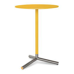 Blu Dot - Blu Dot Sprout Bar Height Cafe Table, Complete Yellow - Pure color and brushed stainless steel play well together.  Complete with a satin finish top and matching stem.  Color peeks through the legs for a flirtatious touch.  This table comes in four other sizes: dining table, cafe table, side table and coffee table. Available in black, ivory or yellow.