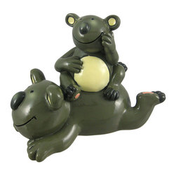 Koala Family Piggyback Ride Coin Bank - This adorable piggy bank features a koala family piggyback ride. Made of cold cast resin, it measures 4 1/2 inches tall, 6 inches long, and 3 inches deep. Each bank is lovingly hand-painted, and empties via a rubber plug in the bottom. It makes a fun, cheerful gift for kids, animal lovers, or anyone trying to encourage a saving habit, and looks great on bookshelves, desks, and nightstands. We have a limited supply, get yours today!