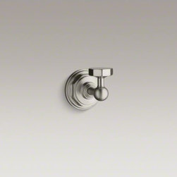 KOHLER - KOHLER Pinstripe(R) robe hook - Inspired by the Art Deco style of the 1930s, Pinstripe accessories add a crisp, refined look to any bathroom. This robe hook offers a convenient place for hanging clothes, towels, or robes.