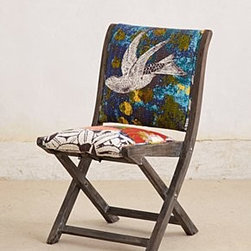 "Anthropologie - Overdyed Terai Folding Chair - Intended for indoor useSheesham wood frameCotton upholstery; polyfillSpot clean33""H, 18""W, 18""DSeat: 17""H Imported"