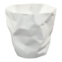 """Modway - Lava Trash Bin in White - Lava was designed for those who appreciate the irony of a trash can, that is effectively throwing itself in the trash. While there's likely some quantum physics behind this, we prefer to think of Lava as a study in self-reference. As you crumple up those pieces of paper, you can be reminded that your receptacle has already beat you to it. More than just a conversation piece, Lava turns the once ordinary task of trash disposal, into something humorous and uplifting. Set Includes: One - Lava Modern Trash Bin. Durable plastic; """"Crumpled paper"""" design; Comes fully assembled; Easy wipe clean surface; Overall Product Dimensions: 12.5""""L x 11.5""""W x 11.5""""H."""