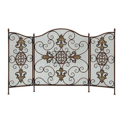 Woodland Imports - Sleek Metal Fireplace Screen Bronze Fleur De Lis Decor - Sleek and modern inspired style metal fireplace screen with a bronze finish and Fleur De Lis design living room decor