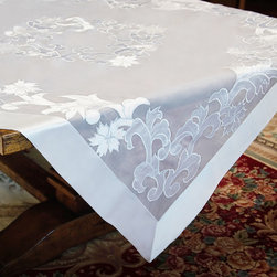 None - White Floral Embroidered 90-inch Round Linen Tablecloth - This round tablecloth is the perfect linen for weddings,special events,corporate affairs and other occasions. Styled in white with floral embroidery,this table linen makes a subtle statement and can be used multiple times.