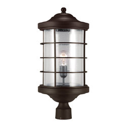 Sea Gull Lighting - Sea Gull Lighting 8224401-71 Sauganash 1 Light Post Lights & Accessories in Anti - Sauganash One Light Outdoor Post Lantern in Antique Bronze with Clear Seeded Glass