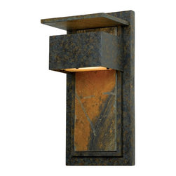Quoizel - Quoizel Zephyr ZP8418MD Extra Large Wall Lantern Multicolor - ZP8418MD - Shop for Wall Mounted from Hayneedle.com! Giving a unique contemporary elegance to the exterior of your home the Quoizel Zephyr ZP8418MD Extra Large Wall Lantern features a richly mottled back plate with slate accents and a muted bronze finish. The one 50-watt T4 mini can bulb is hidden behind a slate shade which adds to the modern styling of this fixture. It measures 7W x 14H inches and has a 6-inch wall extension.About Quoizel LightingLocated in Charleston South Carolina Quoizel Lighting has been designing timeless lighting fixtures and home accessories since 1930. They offer a distinctive line of over 1 000 styles including chandeliers lamps and hanging pendants. Quoizel Lighting is the perfect way to add an inviting atmosphere to any area in your home both indoors and out.