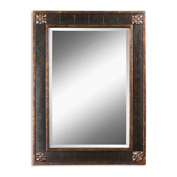 None - Uttermost 'Bergamo' Vanity Mirror - Hang this lovely rectangular vanity mirror on any wall in need of sprucing up. The mirror is beautifully accented by mottled-black and distressed-chestnut shades and gold leaf detailing,making it not only a useful piece but also part of your decor.
