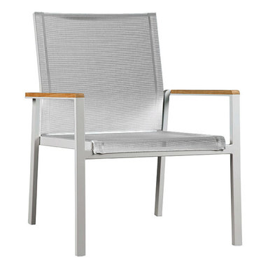 Barlow Tyrie - Barlow Tyrie Aura Deep Seating Armchair - Teak Armrest - Barlow Tyrie has been making high-quality outdoor furniture since 1920 and features classic and modern styles of teak, all-weather wicker and mixed material furniture combining teak, stainless-steel and sling. Aluminum for lightness, Textilene slings for comfort and a very generous size make this armchair perfect for lounging. The frame is power coated with teak detailing on the arms.