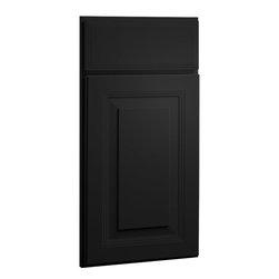 CliqStudios.com - Carlton Carbon Black Paint Shaker Kitchen Cabinet Sample - The updated traditional styling of a raised panel cabinet door brings architectural interest for a timeless look. The CliqStudios Carlton door pairs perfectly with stainless appliances, nickel finish hardware, glass subway tile backsplash, modern bar stools, hardwood floors and granite countertops.  Carlton works equally well in an open concept kitchen, galley kitchen, u-shaped kitchen, kitchen island, kitchen peninsula or in a nearby kitchen desk or window seat. Consider coordinating with a variety of recessed lighting, undercabinet task lighting, pendant lighting and other decorative accents.
