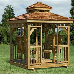 Fifthroom - Wood Hip Roof Gazebo Swing -