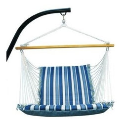 Algoma Net Company, Div. of Gleason Co - Soft Comfort Cushion Hanging Chair-Tropical Palm Stripe Blue/Norway Powder Blue - Enjoy all that summer has to offer from this comfortable cushioned hanging chair. Made with two different patterns of weather resistant fabric, it features foam-filled fabric on the chair and mildew-resistant polyester rope cord. Note - stand sold separately. Made in the USA.