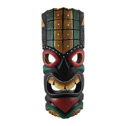 Green and Gold Tiki Mask with Red Eyes and Dot Painted Accents 11 In. - This dark green and gold tiki mask is hand crafted from wood and features bright red accents and a mean look. It measures approximately 11 inches tall, 4 1/2 inches wide, and has a hanger on the back. This mask looks great in your home or on your porch or patio, and it is a must-have for any tiki bar. It also makes a great gift for friends and family. NOTE: Since these masks are hand carved and hand painted, there may be slight color or facial differences from the pictures.