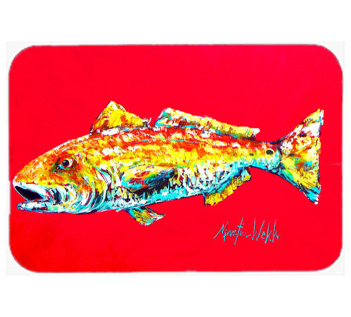 Caroline's Treasures - Fish - Red Fish Alphonzo Kitchen or Bath Mat 20 x 30 - Kitchen or Bath Comfort Floor Mat This mat is 20 inch by 30 inch. Comfort Mat / Carpet / Rug that is Made and Printed in the USA. A foam cushion is attached to the bottom of the mat for comfort when standing. The mat has been permanently dyed for moderate traffic. Durable and fade resistant. The back of the mat is rubber backed to keep the mat from slipping on a smooth floor. Use pressure and water from garden hose or power washer to clean the mat. Vacuuming only with the hard wood floor setting, as to not pull up the knap of the felt. Avoid soap or cleaner that produces suds when cleaning. It will be difficult to get the suds out of the mat