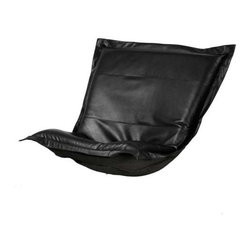Howard Elliott Avanti Black Puff Chair Cushion - Nouveau Riche! Extra Puff Cushions in Avanti are a great way to get a fresh new look without the expense of buying a whole new chair! Puff Cushions fit Scroll and Rocker frames. Avanti features a paneled design with a luxurious leather look and feel, without the expense of real leather.