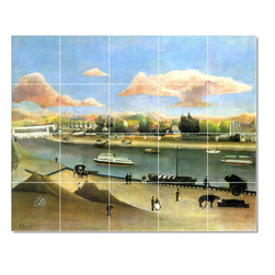 Picture-Tiles, LLC - The Viaduct Of Auteuil Tile Mural By Jean Jacques Rousseau - * MURAL SIZE: 24x30 inch tile mural using (20) 6x6 ceramic tiles-satin finish.