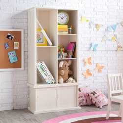 Classic Playtime - Classic Playtime Hopscotch Vanilla Tall Bookcase with Optional Stackable Storage - Shop for Childrens Bookcases from Hayneedle.com! The Classic Playtime Vanilla Tall Bookcase with Optional Stackable Storage with Sliding Door helps you keep books in order while adding understated style to your child's room. Durably constructed of MDF and wood veneers in a vanilla-colored finish this bookcase with a sliding door offers plenty of storage for books and other items. Perfect for any child's room with its plain finish and simple style this bookcase helps your little one start their very own library. Dimensions Stackable storage with sliding door only: 32L x 12.75W x 17H inches Tall bookcase only: 32W x 14.5D x 49.25H inches Tall bookcase and stackable storage with sliding door: 32W x 14.5D x 66.25H inches About Classic PlaytimePlaytime doesn't require batteries or a screen and providing kids with a place to grow and learn doesn't require sacrificing your home's integrity. Classic Playtime is devoted to the idea that given constructive ways to explore their world and themselves children blossom in their own gardens. Our furniture is designed to be simple unique and functional in both kids' and adults' spaces. You'll find stylish and practical places for art activities reading writing building and somewhere to keep it all during downtime.