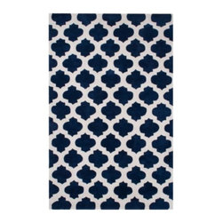 Z Gallerie - Metro Rug - Our stunning Metro Rug brings a touch of exotic style to complement a variety of decor settings. Layering a space with depth and dimension, our Metro Rug has been artfully hand-tufted in a graphically repetitive modern quatrefoil design.  Available in sapphire with a ivory pattern, a 3/8 inch pile height ensures supreme softness underfoot.