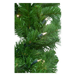 """Seasonal Source - 9' X 14"""" Pre-Lit Deluxe Oregon Fir Garland, 100 Clear Lights - Our commercial quality 9' x 14"""" Pre-Lit Incandescent Mini-Light Oregon Fir garland is thick, luxurious and rated for indoor and outdoor use.  You will enjoy the realistic color and durability of the UV resistant PVC tips."""