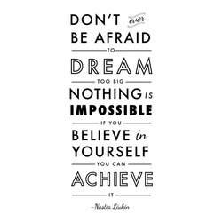 Dana Decals - Vertical Dream Believe Achieve Quote Wall Decal - Dream Big Nothings Impossible Believe and Achieve Quote
