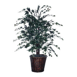 Vickerman - 4' Frosted Maple Bush - 4' Frosted Maple Bush in Rattan container