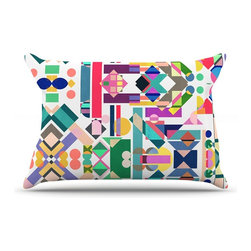 """Kess InHouse - Mareike Boehmer """"Geometry 2B"""" Abstract Rainbow Pillow Case, King (36"""" x 20"""") - This pillowcase, is just as bunny soft as the Kess InHouse duvet. It's made of microfiber velvety fleece. This machine washable fleece pillow case is the perfect accent to any duvet. Be your Bed's Curator."""