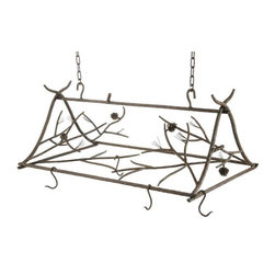 Stone County Ironworks - Pot Rack Large with 8 Hooks - Eight pot hanger hooks. Entire piece is hung from hand-forged hooks. Pine cone, twig and branch design has a distinct organic feel and the hand-forged cones and needles. Hand made. Made from Iron. 38 in. W x 22.5 in. D x 15 in. H (30 lbs.)Dazzling hand-forged realism reflected in the natural beauty of this evergreen conifer. The gifted black-smith artisans here in the hills of Arkansas make every effort to translate every detail, from the rustic elegance of a hand-made pine-cone, to the warm texture of hammered bark. Transform any room by bringing the great outdoors inside.