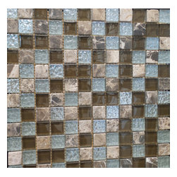 "GL STONE - Random Multicolor stone and Glass Square Pattern Mosaic Tile,1 Carton 11 Sheets - A unique checkerboard decor of tumbled Emperador dark, and metallic glazed finish glass 1 x 1"" mosaic tiles. This mosaic tile contains stone and glass material, which is the great design for the interior decor. Glossy finished glass mix emperador stone create an unique mosaic tile. Each piece fits into the next like a perfect puzzle. This mosaic tile will bring warmth and a natural ambiance to your home. It also looks great in large spaces or smaller areas like a kitchen backsplash, bathroom wall, etc."