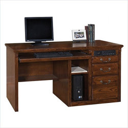 Martin Furniture - Kathy Ireland Home by Martin Huntington Oxford Single Pedestal Computer Desk - Martin Furniture - Computer Desks - HO540/B - Raise the tone of your home with the classic Huntington Oxford collection. Huntington lends your home an air of contemporary refinement featuring sturdy hardwood construction in smooth cherry veneers coated by a rich finish and lightly distressed for that antique luster. Select Huntington pieces feature heirloom-quality details such as old-fashioned hardware and detailed moldings for added high-class appeal.