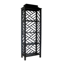 NOIR - NOIR Furniture - Meiling Bookcase in Hand Rubbed Black - GBCS117HB - Features: