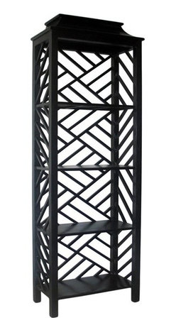 NOIR - NOIR Furniture - Meiling Bookcase in Hand Rubbed Black - GBCS117HB - Features: