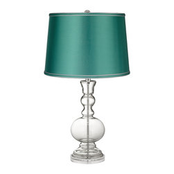 Color Plus - Clear Fillable - Satin Sea Green Shade Apothecary Lamp - This apothecary-style Clear Fillable designer glass table lamp features a stylish sea green satin drum shade. The apothecary style glass table lamp offers a wonderful style accent. The clear glass base can be filled with your favorite collectible - from seashells to glass beads, the possibilities are endless! The design features a clear lucite base and is topped with a stylish sea green satin drum shade. Lamp base U.S. Patent # 8,899,798.