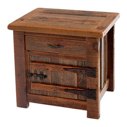 Woodland Creek Furniture - Barnwood End Table or Nightstand Heritage Collection - If this rustic barnwood end table could speak, we would have hours of tales from years gone by. Stories of generations of pastoral life are recorded in the weathered grain of this hand crafted rustic nightstand.  Fitted with authentic solid wood hinges, forged iron latch and drawer pull this old age cabinet harken to a time of golden wheat and gentle Guernsey cows grazing in their pasture.