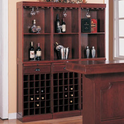 Lambert Traditional Wine Wall Bar Unit - This Lambert Traditional Wine Wall Bar Unit by Coaster Co. is perfect for a wine aficionado. Wine wall unit includes storage for 30 bottles. The warm Cherry finished wine cabinet offers additional storage with drawer to keep items hidden, pull out tray for extra work surface when you need it, shelves to show off wine and other bar equipment and stemware hanging racks along the top for your wine glass collection.